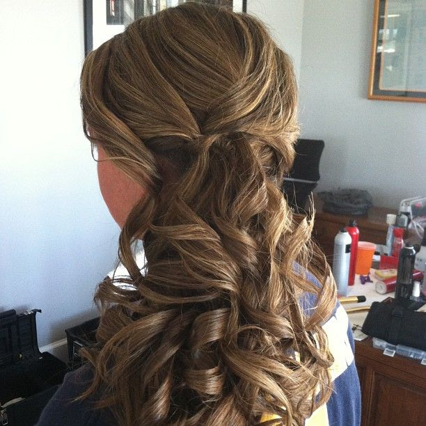 bridesmaid curly low side ponytail updo #jamiewarzel