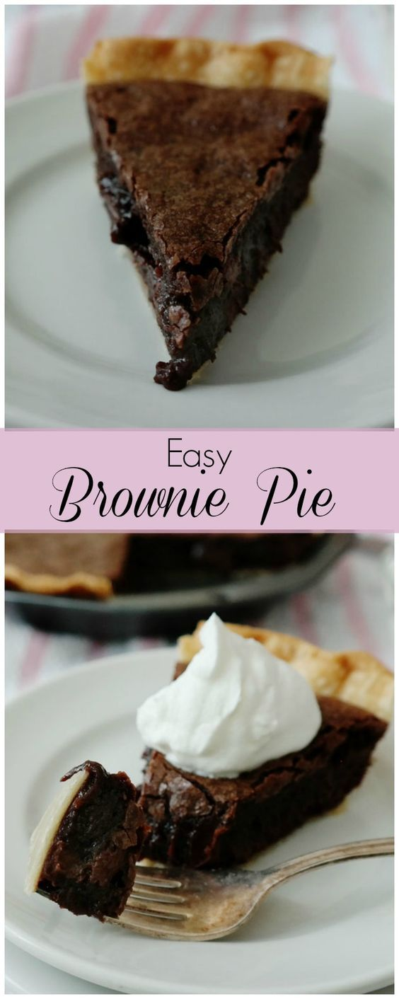 Easy Brownie Pie-taking brownies to the next level and creating an easy dessert-a flaky pie crust surrounds a rich brownie with a thin crust on top and in the middle a gooey fudgy delight!