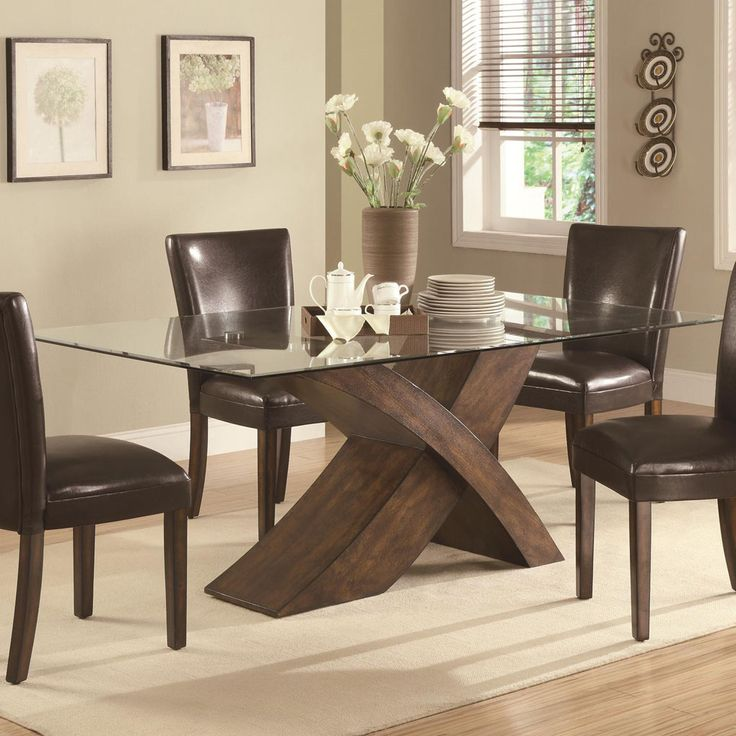 Classic Elegant Solid Wood Base Rectangular Glass Top Dining Table ...