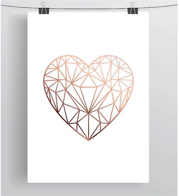 Copper Love Heart Print Rose Gold Printable Art Scandinavian
