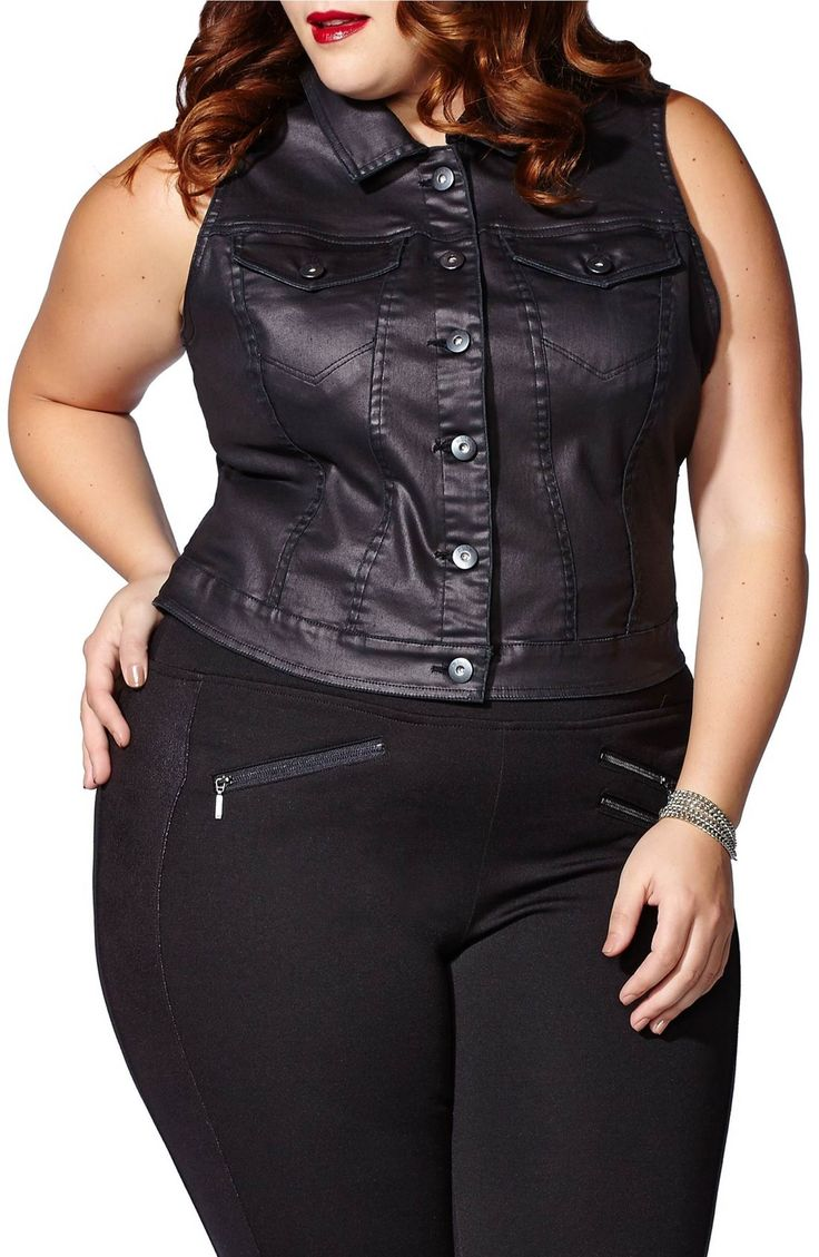 Main Image - mblm by Tess Holliday Coated Denim Vest (Plus Size)