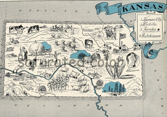 Kansas Map - Map Art - High Res DIGITAL IMAGE of a 1930s Vintage Picture Map - Turquoise Aqua - Charming & Fun