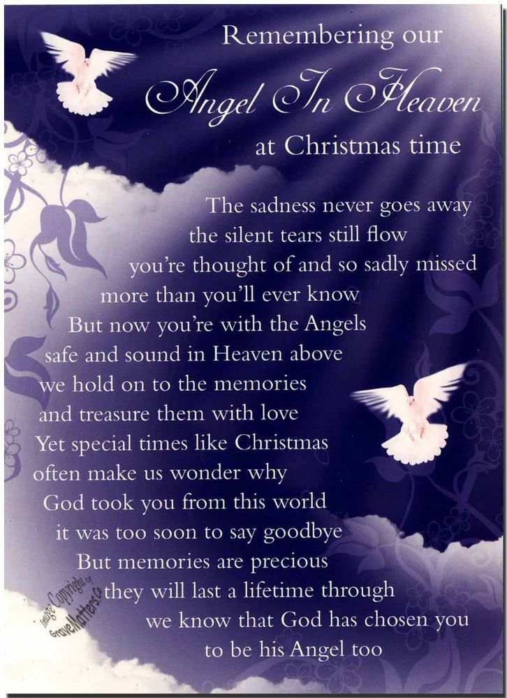 Christmas Grave Card Angel In Heaven FREE HolderC114 in Home, Furniture & DIY, Celebrations & Occasions, Memorials & Funerals | eBay