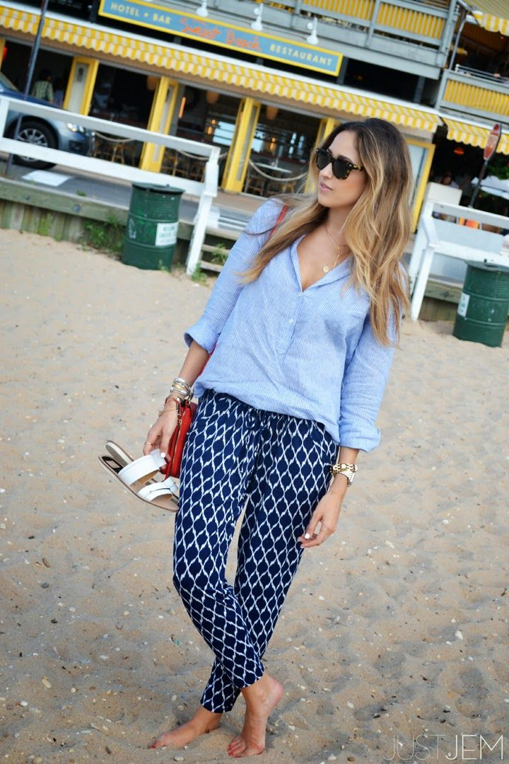 beach blues. (www.justjem.com)   blue harem pant   linen top   dolce vita flats