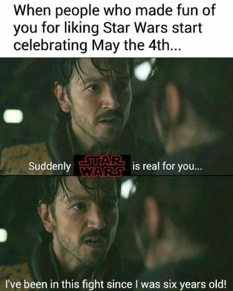 When people who made fun of you for liking Star Wars start celebrating May the 4th: Suddenly Star Wars is real for you...I've been in this fight since I was six years old!