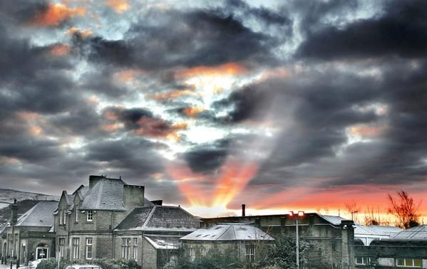Dramatic sun rays shoot from the darkened clouds at #Skipton railway station, by Stephen Garnett