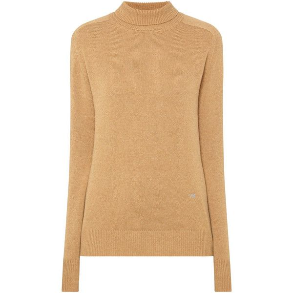 VICTORIA BECKHAM Polo Neck Sweater ❤ liked on Polyvore featuring tops, sweaters, long sleeve turtleneck, beige top, victoria beckham sweater, victoria beckham top and polo neck sweater