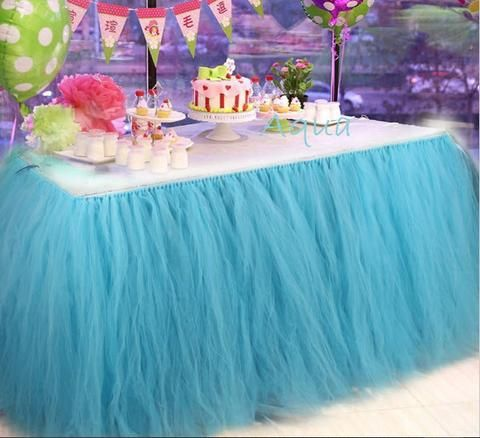 Custom Floral Tulle Table Skirt | Eshays, LLC