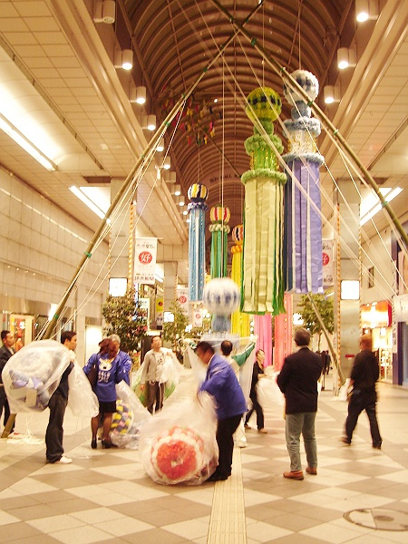 Getting Ready for theTanabata Festival in Sendai, Miyagi Prefecture(It's one of the most famous festivals in Japan) 秋の仙台七夕物語開会式・其の31