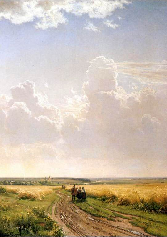 """MIDDAY IN THE OUTSKIRTS OF MOSCOW 1869 by Ivan Shishkin (1832-1898) oil on canvas 43"""" x 31""""  THe Tretyakov Gallery, Moscow"""