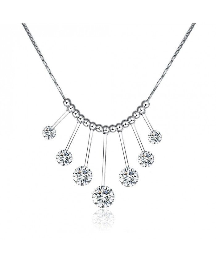 Charm White Zircon Beads Pendant Thin Chain Necklace For Sale