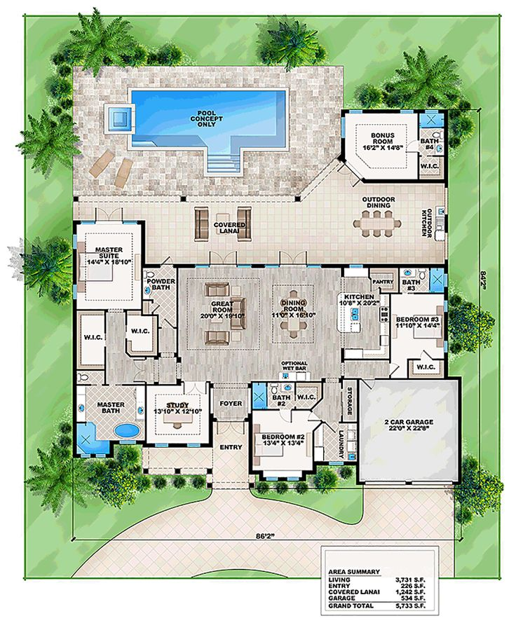 coastal contemporary florida house plan 52912 - Coastal House Plans