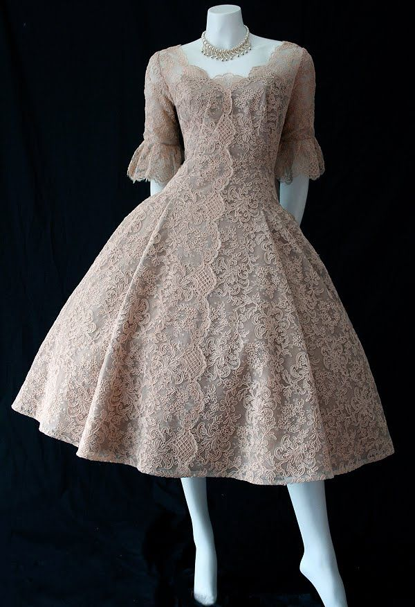 Gorgeous 1950s vintage, mocha-coloured, lace dress labelled Neiman Marcus.