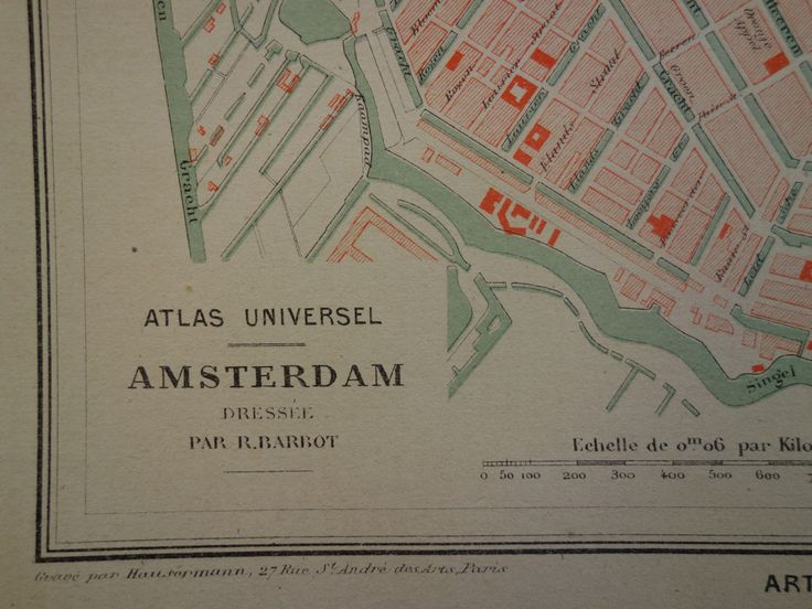 AMSTERDAM old map of Amsterdam 1877 lovely original antique city plan Amsterdam Holland vintage maps about NL antieke oude kaart plattegrond by VintageOldMaps on Etsy