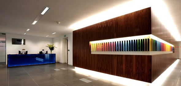 Modern office interior design of stenham london uk for Small office interior design images