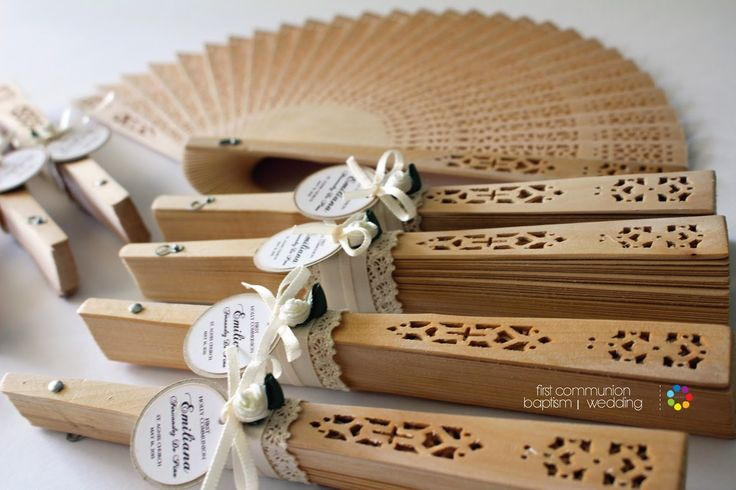 Vintage favors set for any occasion | Wooden fan | Party Favors Place - lace, rustic, First Communion, Baptism, Wdding, Babby Shower