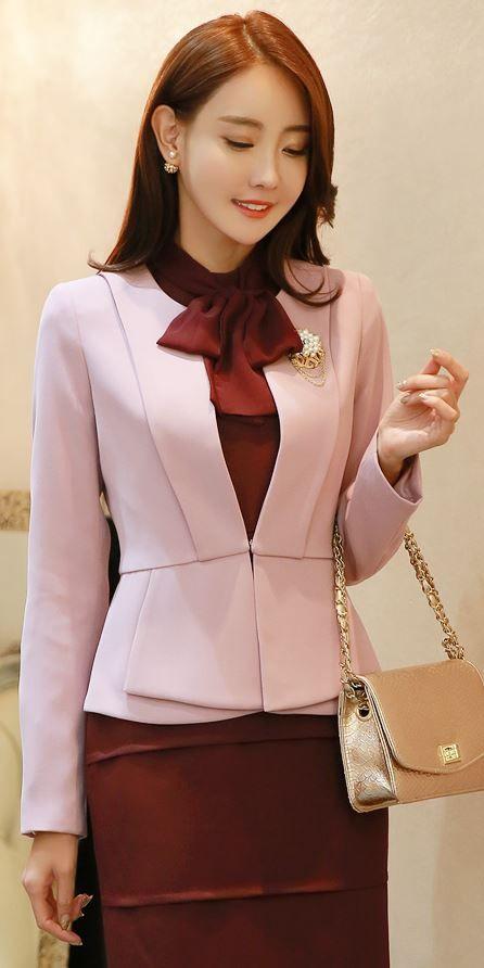 StyleOnme_Chain Detail Belted Collarless Jacket #pink #jacket #autumnlook #koreanfashion #elegant #feminine #kstyle