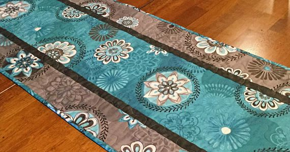 Teal and Gray Quilted Table Runner Teal Table Runner Quilted