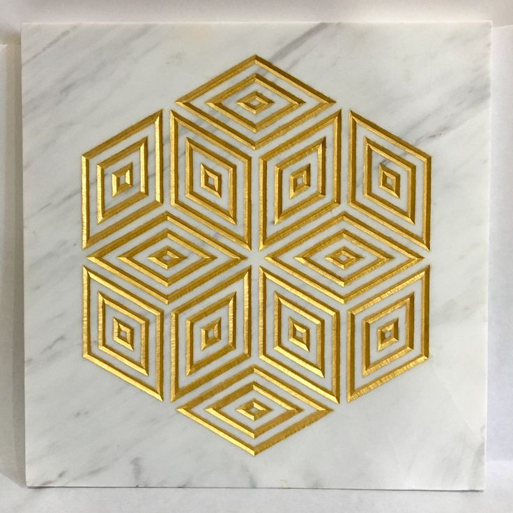 'Gold diamond'  245x245x15mm  Hand carved and gilded in Italian white marble,  by Zoe Wilson