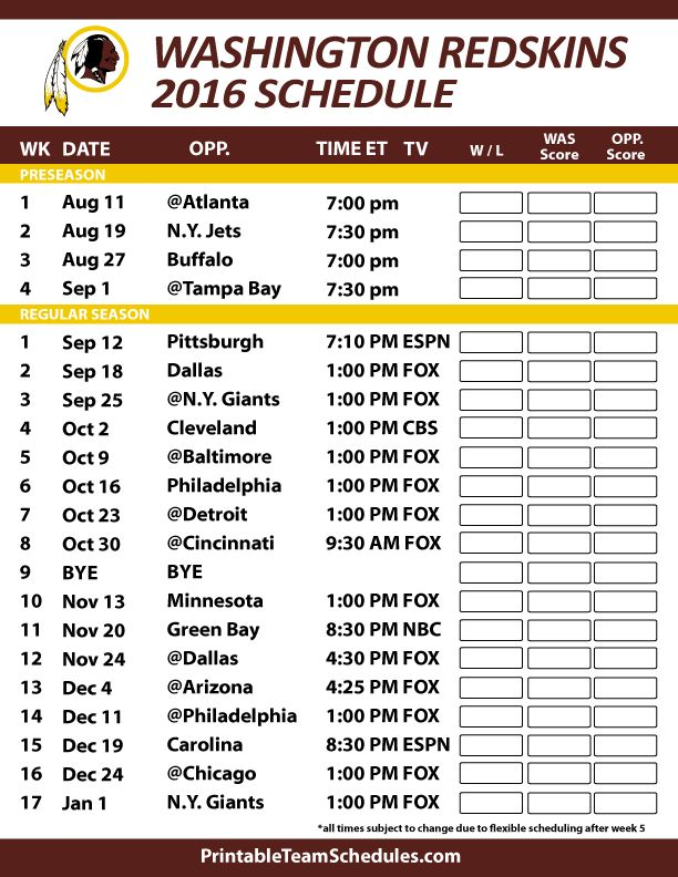 Washington Redskins 2016 Football Schedule. Print Schedule Here - http://printableteamschedules.com/NFL/washingtonredskinsschedule.php
