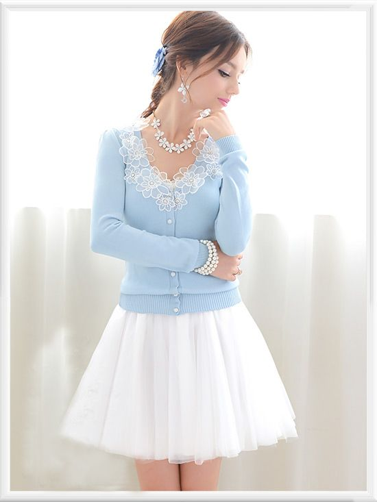 Blue Floral Knit Sweater with Tulle Skirt / Morpheus