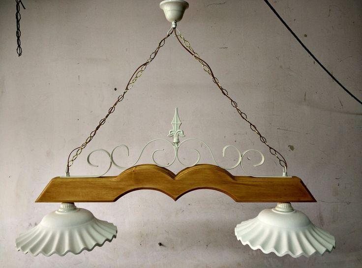Lampadario in ferro battuto e legno mod.Bilanciere 2 luci E27 stile shabby chic
