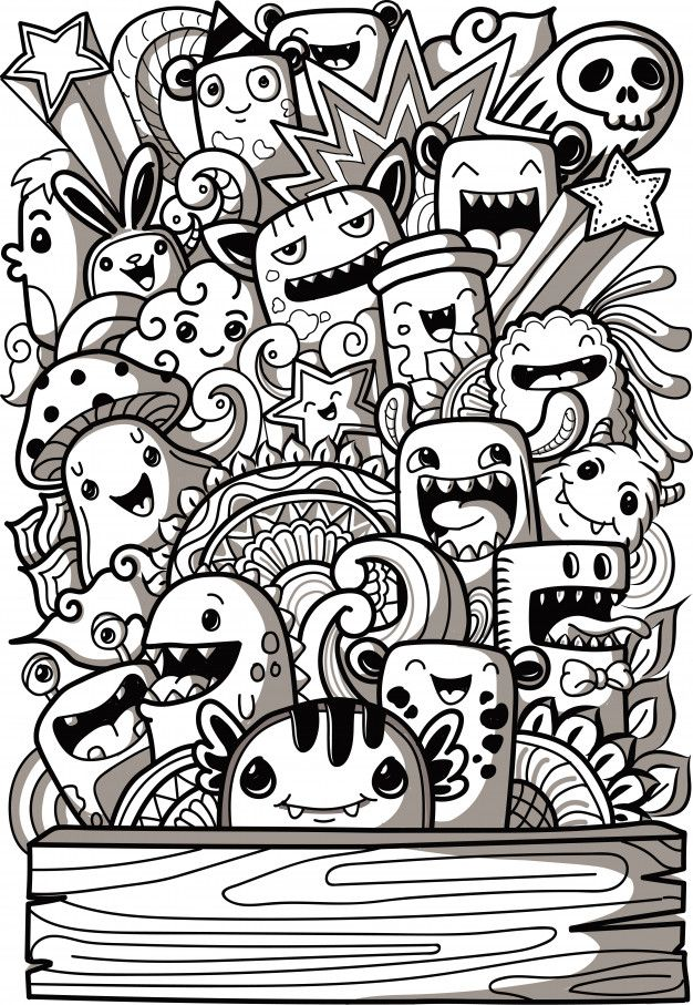 Cute Monsters Collection In Doodle Style In 2020 Doodle Art