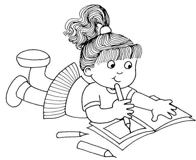 Desenho De Menina Escrevendo Para Pintar Colorir Espaco Educar