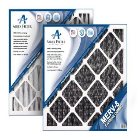 Airex 10x24x1 Carbon Merv 8 Pleated AC Furnace Air Filter, Box of 6 - (Actual Size: 9.5 X 23.5 X .75)