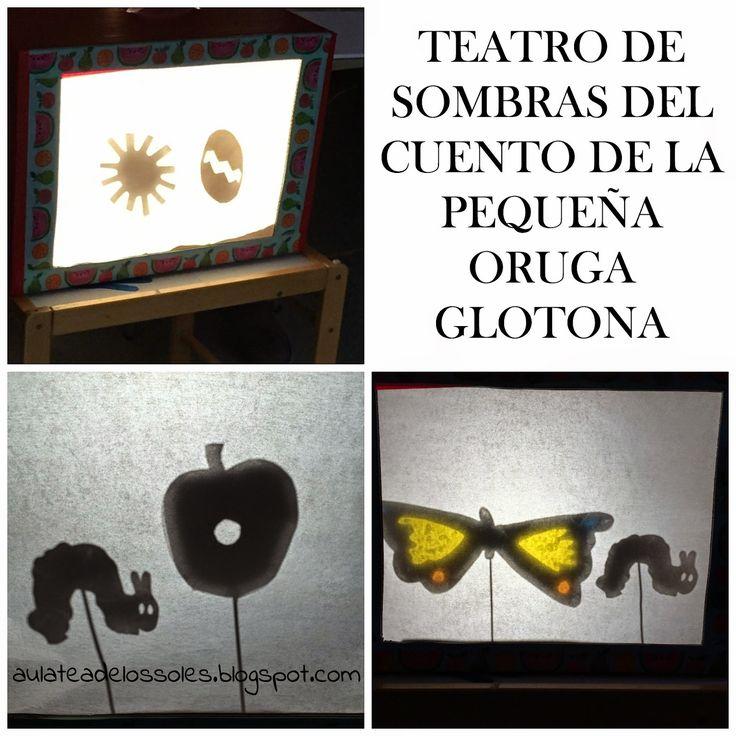 How to do the Shadow Puppet Story of The Very Hungry Caterpillar (w/ printing template) @aulateadlosoles // Teatro de sombras de La Oruga Glotona con plantilla imprimible
