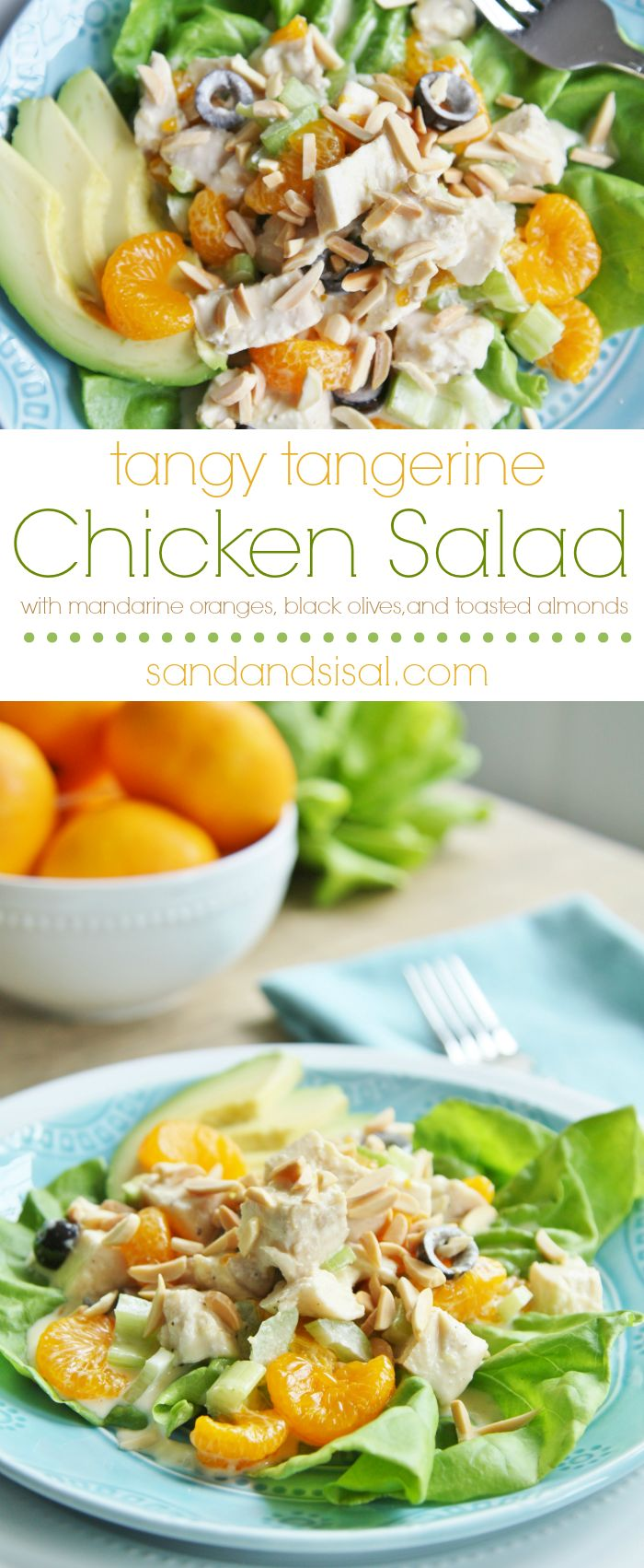 The perfect summer dinner! Tangy Tangerine Chicken Salad with Mandarin Oranges and toasted almonds.
