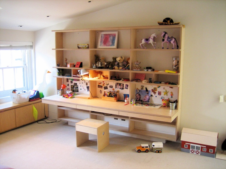 Floating Wall Units With Built In Desk Systems Clears Up More Floorspace For Playtime