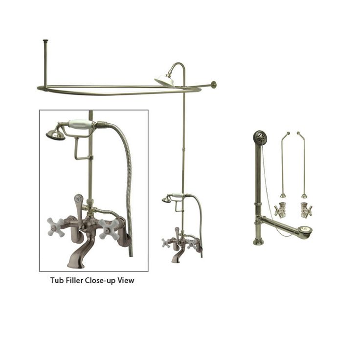 Satin Nickel Clawfoot Tub Shower Faucet Kit with Enclosure Curtain Rod 59T8CTS