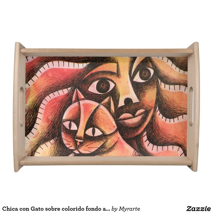 Chica con Gato sobre colorido fondo abstracto. Bandejas Serving Trays, home decor, decoración. Producto disponible en tienda Zazzle. Decoración para el hogar. Product available in Zazzle store. Home decoration. Regalos, Gifts. #Bandejas #Serving #Trays #cat #gato #kitten