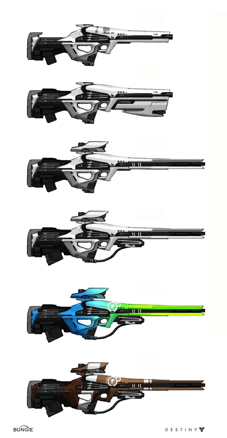 these are fairly similar looking weapons i some regards, but the first 2 look more like assualt rifles while the rest seem to be sniper rifles. there are small differences between each but they all just seem like very clean and plain futuristic weaponry.