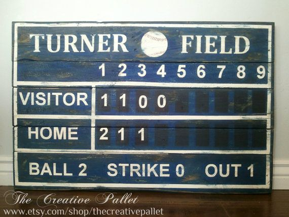 Baseball Score Board Pallet wood Sign Hey, I found this really awesome Etsy listing at https://www.etsy.com/listing/178665877/baseball-scoreboard-wood-pallet-sign