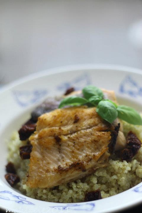 Seared trout on Quinoa + Dried Tomatoes