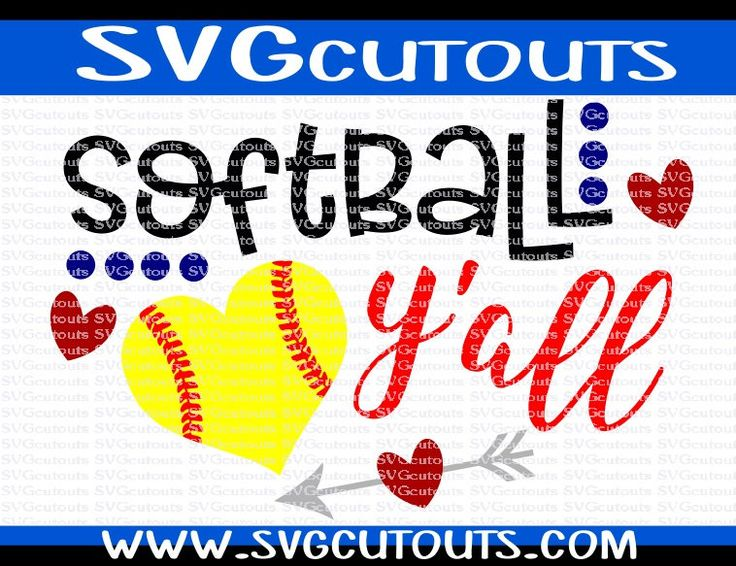 Softball Y'all Design, SVG DXF EPS Png Formats, Files for Cutting Machines, Cameo, Cricut Baseball Fan Cutting File, Instant Download by SVGcutouts on Etsy