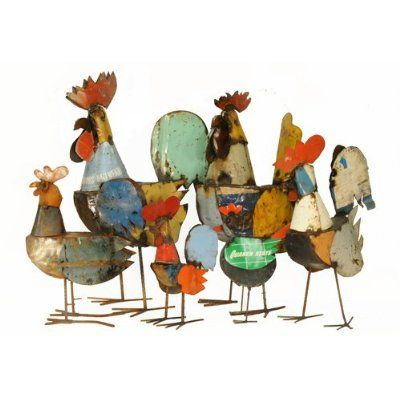 recycled metal roosters on Amazon