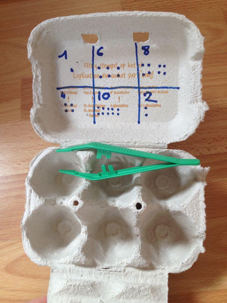 Maistafel Wiskundige activiteit + fijne motoriek Neem het juiste aantal maiskorrels via deze pincet en leg in het juiste vakje.