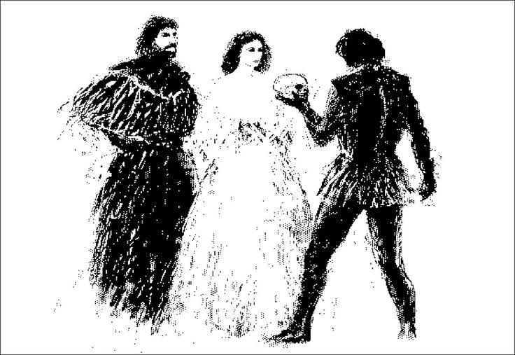 "H e n n i n g H o l m N i e l s e n. PC-drawing. THEATER ""Ophelia, Hamlet and Horatio""."