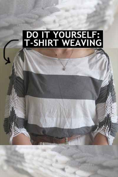 Add an extra flair to your outfits by weaving your t-shirts. | 31 Creative Life Hacks Every Girl Should Know