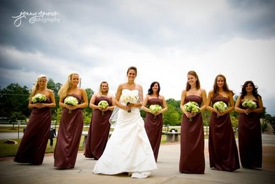 Chocolate Brown Bridesmaid Dresses Look Wonderfully Updated With White Cream And Or Green Fls