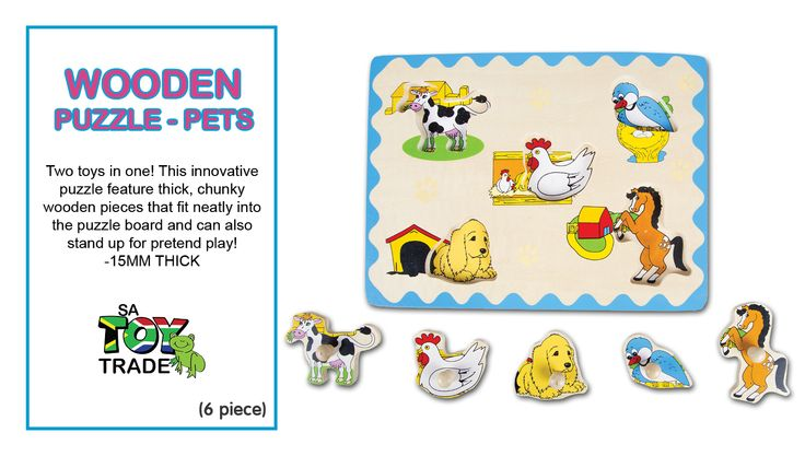 Two toys in one! This innovative puzzle feature thick, chunky wooden pieces that fit neatly into the puzzle board and can also stand up for pretend play! These high quality flat puzzles are all 15mm thick with colourful appropriate pictures under each piece. The Pets and their houses that are featured on this extra thick wooden puzzle, includes a Cow, dog, bird, chicken and pony. Five easy-grasp, durable and sized perfectly for little hands pieces, fits neatly in the wooden board.