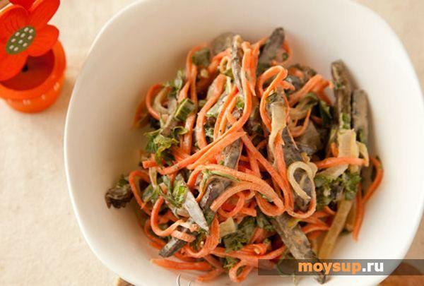 Салат с печенкой и корейской морковью