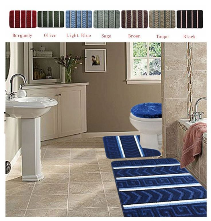 3pc Bath Rugs Mats Bathroom Set: Bath Mat,Contour Rug, Toilet Lid Cover
