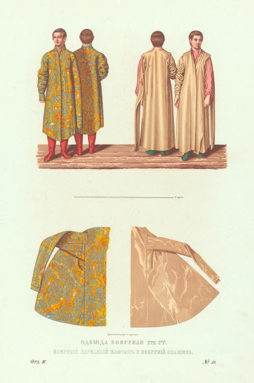 Boyars' clothes of the XVII century. Boyar smart kaftan and boyar opashen'21. Chromolithography by F. Dreher.