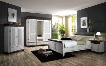 Спальня Хельсинки - массивная мебель из сосны - белый колониальный - цена по запросу