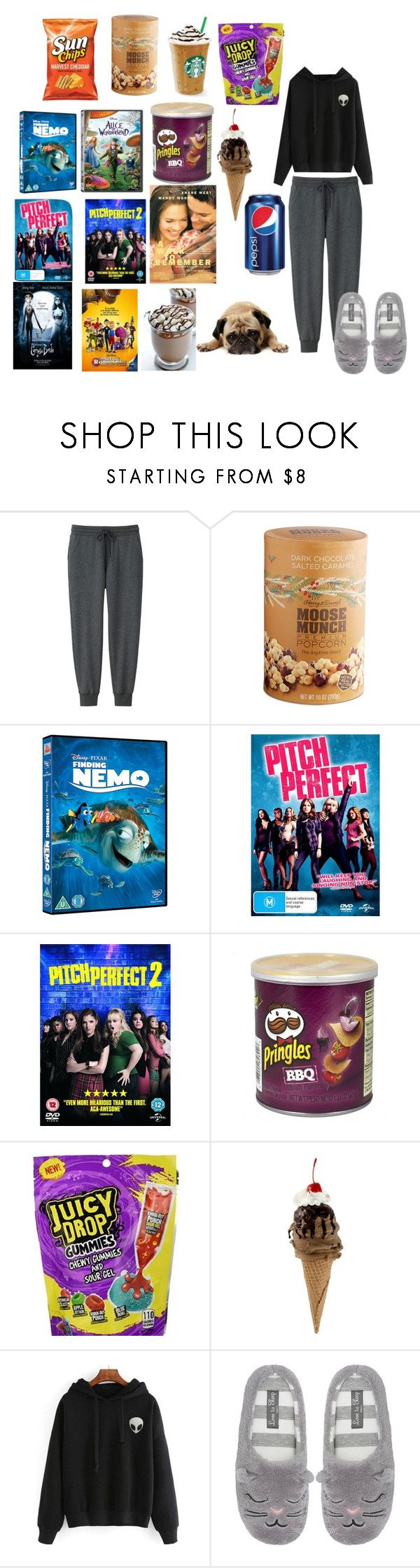 """""""movie night#7"""" by nedy3242006 ❤ liked on Polyvore featuring Uniqlo, Harry & David, Burton and M&Co"""