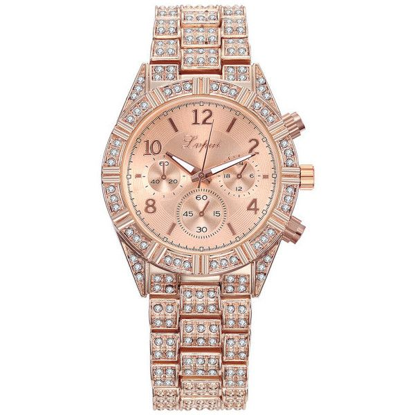 Women's Womens 18K Gold Plated ICED-OUT Quartz Watch ($20) ❤ liked on Polyvore featuring jewelry, watches, jewelry & watches, rose gold, women's watches, 18 karat gold jewelry, 18k jewelry, quartz watches, gold plated watches and 18 karat gold watches